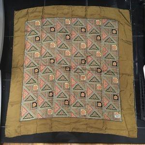 Liberty London Yellow Green Triangle Silk Scarf 38